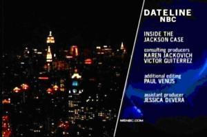 Az NBC egy Jacksonról készített filmjének stáblistája - Victor Gutierrez nevével